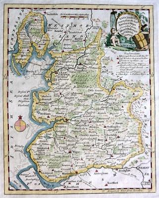 LANCASHIRE LANCASTER BY THOMAS KITCHIN GENUINE ANTIQUE COPPER ENGRAVED MAP c1769