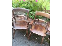 Solid Pine Country Farmhouse Stained Kitchen Oxford Carver Chairs