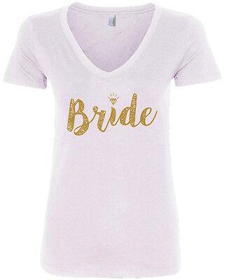 Bride Womens V-neck T-shirt - Bride Gold Script Women's V-Neck T-Shirt Wedding Marriage Gift
