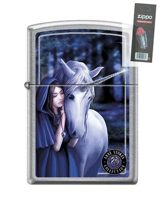 Zippo 7692 Anne Stokes-Unicorn With Woman Street Chrome Ligh