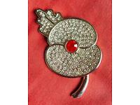 Silver and Glass Crystal Red Poppy Brooch - Free Post