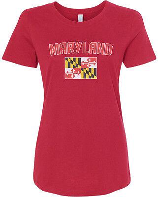 Threadrock Womens Maryland Flag T Shirt State University