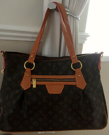 Large Tote / Handbag New Weekend / Overnight Bag Brown & Tan, Post Option
