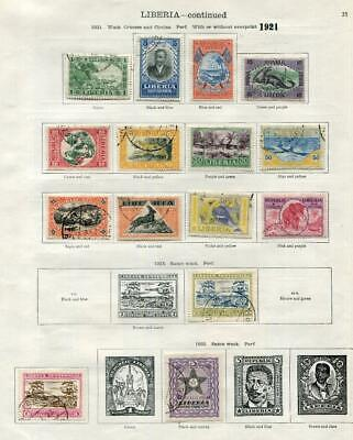 LIBERIA: 1921-1928 Examples - Ex-Old Time Collection - 2 Sides Page (41635)