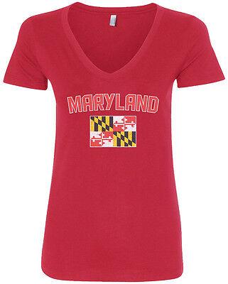 Threadrock Womens Maryland Flag V Neck T Shirt State University
