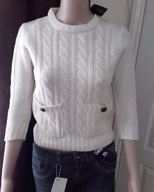 BRAND NEW CREAM JUMPERS WITH TAGS RRP £20 THIS IS FOR 10 JUMPERS IN SIZES IN 8-16