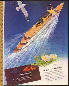 1946 full page magazine ad for Matson Cruise Line