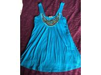 Lovely blue vest top size 12 by Fee Red unusual beads detailing