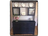 "Solid Welsh Carved Dresser Hand Painted in Mineral Fusion Paint ""Upcycled"""