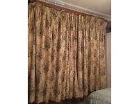 Pair of large designer fabric curtains, lined and interlined. Cream/pale blue/stone floral
