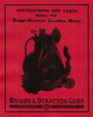 Briggs Stratton Fh Fi Gas Engine Motor Manual Parts Instruction Book Hit Miss