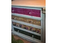 Chest of Drawers and 2 bedside cabinets -Upcycled in Indian Style silk fabric
