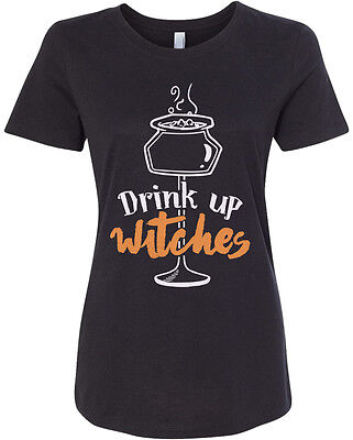 Halloween Drinks Adults (Threadrock Women's Drink Up Witches T-shirt Funny)