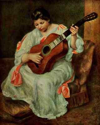 A4 Photo Renoir Pierre Auguste Renoir 1958 Woman playing the guitar Print Poster