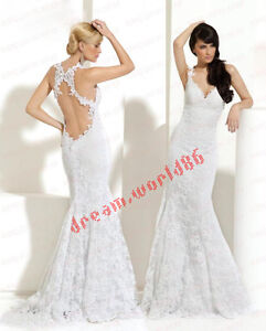 White Lace Backless Bridesmaid Bridal Gown Proms Pageant Deb Wedding Dress Size