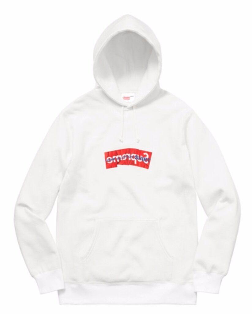 supreme x comme des garcons box logo hoodie white medium. Black Bedroom Furniture Sets. Home Design Ideas