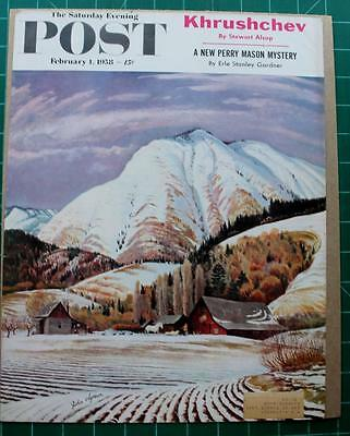 Vintage Saturday Evening Post Cover Feb 1958 John Clymer Farm in Winter
