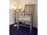 Stunning grey & silver boudoir/bedroom/salon/shop chair. Shabby chic/Vintage/French.