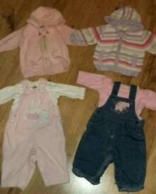 Girls jumpers & dungaree sets 0-3 months