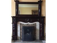 Mahogany surround fireplace and mirror for sale.