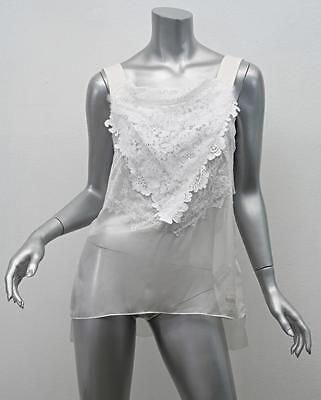 GIVENCHY $4050 White Silk Chiffon Lace Sheer Sleeveless Blouse Tank Top 40/8 NEW