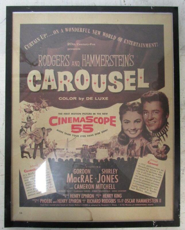 1956 CAROUSEL FRAMED NEWSPAPER AD Rodgers and Hammerstein Shirley Jones ~WW