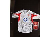 Signed England Rugby Union World Cup (2003 Winners) Shirt & Book
