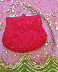 NEW Designer BETH JORDAN Red & Silver Luxury Beaded Bag / Purse/ Handbag/Clutch Bag/ Ball/ Christmas