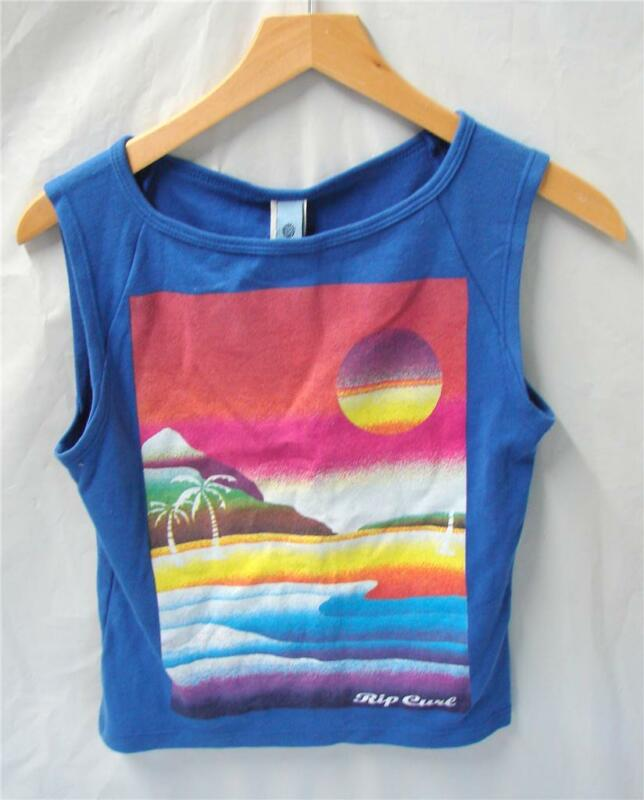 Rip Curl Ladies Airbrush Tank Top T-Shirt Blue Size Small NEW