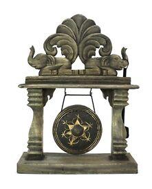Rustic Style Burmese wooden gong, elephant design, 45cm high.