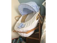 Boys blue Moses basket