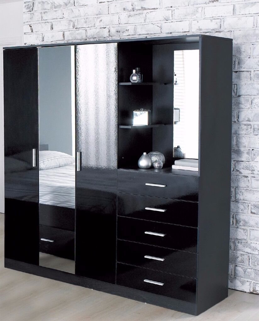 BIG SALE Brand NEW Combi Combination Unit Wardrobe Chest - Black gloss dressing table