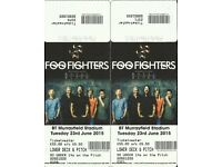 Unused Foo Fighters tickets - Murrayfield June 2015 .. cancelled gig