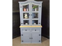Solid Pine Farmhouse Welsh Dresser / Kitchen Unit / Display Cabinet-Shabby Chic