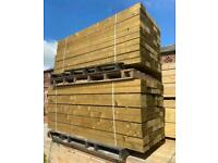 New Pressure Treated Wooden Sleepers