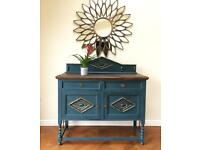 FABULOUS EDWARDIAN OAK SIDEBOARD HAND PAINTED IN AUBUSSON BLUE WITH ANTIQUE GOLD HIGHLIGHTS