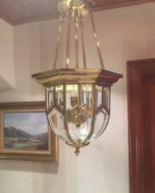 Large Solid Brass Ceiling Light with Glass Dome in Perfect Condition