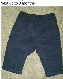 Next boys navy chinos 0 to 3 months