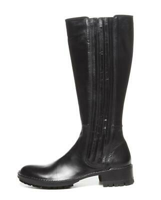 ROCCO P. Black Leather Low Heel Expandable Side Vent Pull-On Tall Boots 8-38 NEW