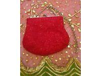 New Designer 'Beth Jordan' Cherry Red & Silver Luxury Beaded Bag /Purse: Handbag/ Accessories: Prom