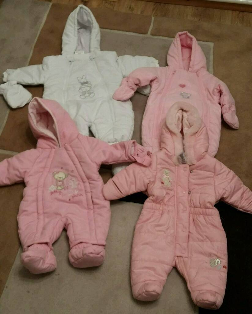 Baby girls snow suits ages Newborn, 0-3 mths & 3-6 mths