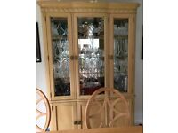 Dining table, chairs and display cabinet