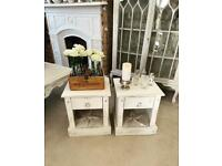 French style shabby chic antique white petite bedside tables