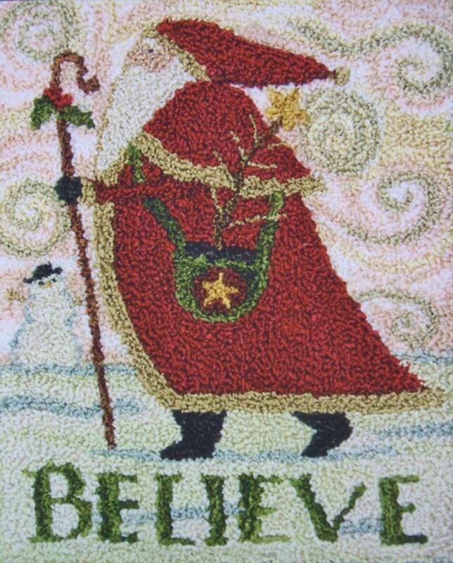 Believe PN132 Christmas Santa Punchneedle Punch Needle Teresa Kogut Pattern