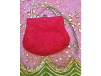 NEW BETH JORDAN Designer Red Silver Diamante Luxury Beaded Bag Purse Handbag Small Clutch Bag PROM