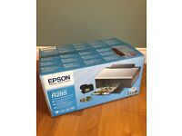 BRAND NEW IN BOX Epson R285 printer with CD/DVD print attachment - unused, no inks