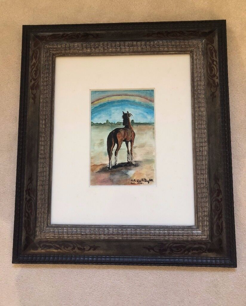 Watercolour Painting Of Horse And Rainbow Signed In Newington
