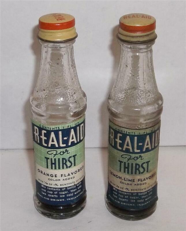 Vintage Mini Real Aid Soda Pop Mix Promotional Bottles