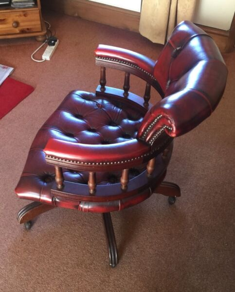 ***Leather Chesterfield Captains Chair, adjustable, ex condition swivel + tilt, antique, vintage*** for sale  Cardiff City Centre, Wales