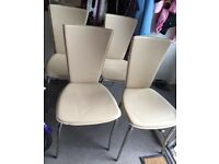 Dining Room chairs x 4 used, light brown with chrome finish legs